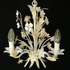This gorgeous silver toned, fixture could be direct wired on used as a swag. Italian Chandelier, Shabby Vintage, Hollywood Regency, Rustic Chic, Queen Anne, Home Decor Inspiration, Light Fixtures, Ceiling Lights, Cream