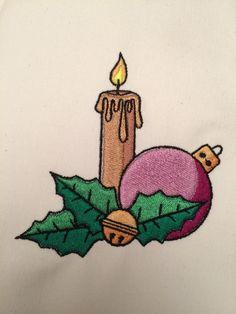Motif de broderie Bougie Noël GRATUIT Mai, Machine Embroidery, Alphabet, Couture, Ornaments, Free Machine Embroidery, Painted Pebbles, Bricolage Noel, Mushroom