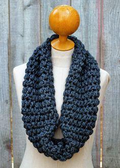 Chunky Charcoal Cluster Crochet Cowl. $21.00, via Etsy.
