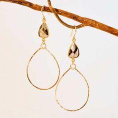 Sonjarenee 'Mindee' Semiprecious Stone Drop Hoop Earrings from Sage Accessories