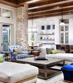 rustic stone living room design large wood coffee table white walls. wonder if I could arrange my living room like this?