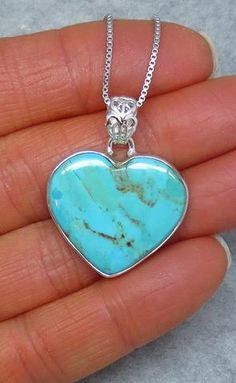 Genuine Arizona Turquoise Heart Necklace - Sterling Silver - Handmade - H171850