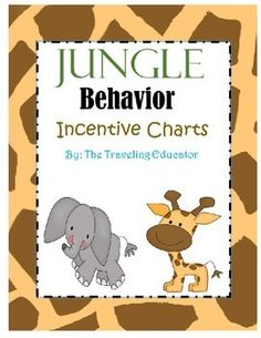 Incentive charts with a fun jungle theme. The file contains 6 pages with 6 different animals on each page. I use these incentive charts for a behavior plan in my classroom. When a student behaves for the day, he or she receives a sticker. Once a student receives five stickers (can be changed to any amount), they can take a trip to the treasure box or