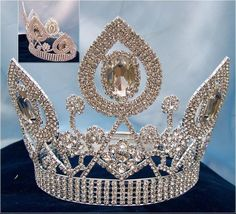 Art Deco style, imposing and elegant, this crown will add the regal look any beauty queen looks for. Designed with the look of sophisticated beauty, the crown features clean arches, spirals and scroll