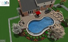 Salt water gunite pool design with negative edge and paver deck. - Salt water gunite pool design with negative edge and paver deck. Backyard Pool Landscaping, Backyard Patio Designs, Swimming Pools Backyard, Swimming Pool Designs, Big Backyard, Lap Pools, Indoor Pools, Landscaping Ideas, Backyard Ideas