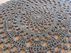 Heather grey giant crochet doily rug. Lacey, large non skid area rug, 36 in. round, oversized on Etsy, $65.00