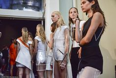 Model behaviour: The slim and trim line of models prepared for the catwalk ...
