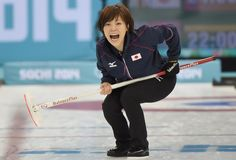 Ayumi Ogasawara of Japan reacts during the Curling Women's Round Robin match between Japan and Switzerland on day nine of the Sochi 2014 Winter Olympics at Ice Cube Curling Center on February 16, 2014 in Sochi, . (Photo by Lars Baron/Getty Images)