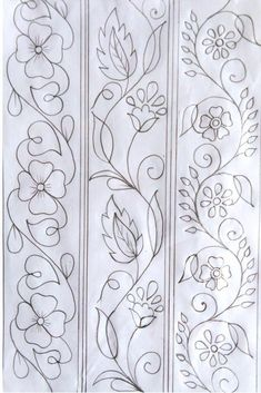 Hand Embroidery Pattern, Hand Drawing Design, Nakshi Katha Design Kantar Design, Hand Drawing D. Hand Embroidery Patterns Flowers, Border Embroidery Designs, Hand Embroidery Videos, Hand Work Embroidery, Hand Embroidery Stitches, Crewel Embroidery, Quilting Designs, Vintage Embroidery, Machine Embroidery
