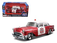 1955 Buick Century Bakersfield Fire Department Car 1/26 Diecast Model Car by Maisto - Brand new 1:26 scale diecast model of 1955 Buick Century Fire Department Car die cast car by Maisto. Brand new box. Rubber tires. Has opening hood, doors and trunk. Made of diecast with some plastic parts. Detailed interior, exterior, engine compartment. Dimensions approximately L-8,W-3,H-2.5 inches. Please note that manufacturer may change packing box at anytime. Product will stay exactly the same.-Weight…