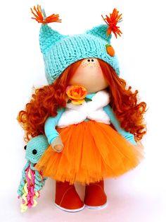 """Куклы тыквоголовки ручной работы. Заказать Текстильная кукла """"Белочка». Ирина Сорокина (sorokindom). Ярмарка Мастеров. Подарок на день рождения"""