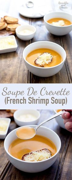 This Soupe De Crevette (French Shrimp Soup) is a rich and creamy soup that is perfect for entertaining this holiday season. It is simple to make and tastes like it is packed full of cream and butter, but it is actually remarkably low is calories!