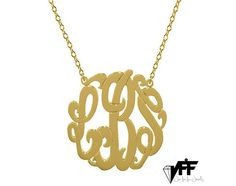 """Description:  A beautiful handmade 0.8 inch gold vermeil monogram necklace, you can choose any 3 initials. The monogram necklace is made of 925 sterling silver and it includes your choice of 14"""", 16"""" or 18"""" inch sterling silver necklace. These are great personalized gifts for mothers, girlfriends, wives, bridesmaids, and best friends..  Instructions:  I design and make each pendant by hand, please allow minimum 10 days for the pendant to be made. IMPORTANT: Please send us your choice of…"""