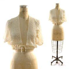 70s Gossamer Crochet Shrug / Super Soft / Creme by nickiefrye, $34.00