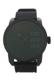 dz1446 black silicone strap watch by diesel -For Men