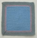 New to Crocheting? Try This Easy Baby Afghan Square: Baby Afghan Square Worked in Front Loop Single Crochet Stitch. The Colors Used in the Sample Square Are Baby Blue, Lavender and Light Gray.