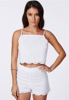 You can't go wrong this season with a #broderieanglaise #cami top. This light summery style with a cute #scalloped edge is perfect for those warmer days. Style yours with the matching #Missguided shorts for a super cute combo.