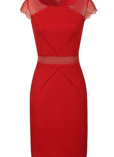Red Cocktail Dress - Red Lace Shift Dress with | UsTrendy