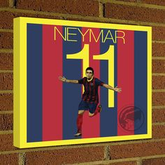 Square Canvas Wrap Soccer Art Print Neymar Canvas Print - Barcelona - Brazil Soccer Poster wall decor, home decor, barca by Graphics17 on Etsy