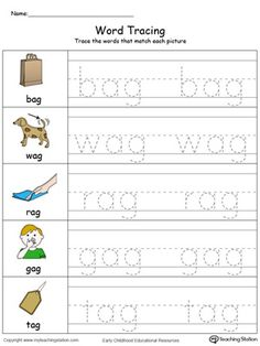 Word Tracing: AG Words in Color Worksheet.Topics: Word Families, Writing, and Reading. Handwriting Practice Worksheets, Alphabet Tracing Worksheets, Alphabet Worksheets, Kindergarten Worksheets, Printable Worksheets, Worksheets For Preschoolers, Homeschool Kindergarten, Preschool Activities, Three Letter Words