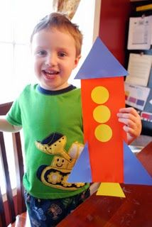 Rocket from simple shapes. Maybe show a diagram of the rocket in black/white outlines and give the kids the shapes to make it? #astronaut #space