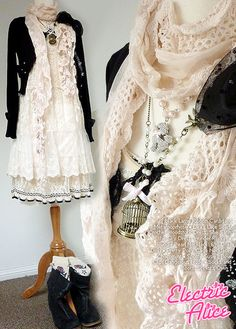 I really sorta like this black and ivory together.  Maybe a bit too girly for me, with all the lace, but I definitely like the color and style.