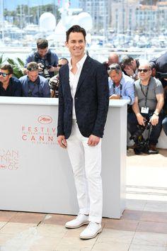 """Matt Bomer in <a href=""""http://www.vince.com/stretch-cotton-short-sleeve-button-up/invt/vnm31961267&color=White&bklist=icat,4,,men,mshirts"""">Vince short-sleeve button-up shirt</a>"""