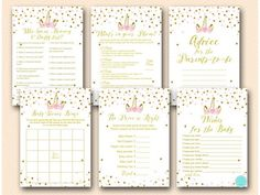 Pink and Gold Unicorn Baby Shower Games Package Free Baby Shower Games, Baby Shower Bingo, Baby Shower Printables, Shower Party, Baby Shower Parties, Baby Shower Themes, Shower Ideas, Baby Showers, Shower Gifts