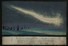 """1300 -- """"In the year A.D. 1300, a fearful comet appeared in the sky. And this year, on St Andrew's Day, the ground was shaken by an earthquake so that many buildings collapsed. At this time, the first jubilee year was established by Pope Boniface VIII."""" -- The Book of Miracles (f°61), ca 1552"""