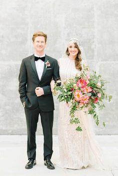 elegant vintage wedding portraits with peony bouquet