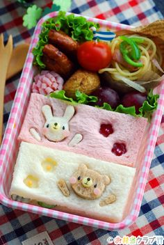 cute sandwich bento - Bento (弁当) is a single-portion takeout or home-packed meal common in Japanese cuisine. A traditional bento consists of rice, fish or meat, and one or more pickled or cooked vegetables, usually in a box-shaped container. Although bento are readily available in many places throughout Japan, it is still common for Japanese homemakers to spend time and energy for their family or themselves producing a carefully prepared lunch box.