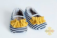 JANEY baby girl shoes  navy blue and white stripe by JolieBerry, $28.95