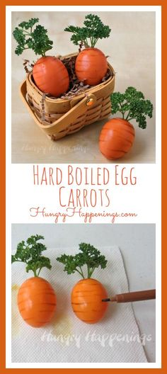 Here's another fun way to serve hard boiled eggs for Easter. These Hard Boiled Egg Carrots are fun and super easy to make. A fun way to serve hard boiled eggs for Easter. These bright orange Hard Boiled Egg Carrots are fun and super easy to make. Ostern Party, Diy Ostern, Easter Dinner, Easter Brunch, Boiled Eggs, Hard Boiled, Easter Egg Designs, Easter Egg Crafts, Easter Food