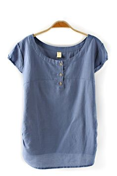 High Low Hem O-neck Short Sleeves Blue Casual T-shirt