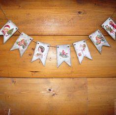 Новогодняя гирлянда флажки ретро декупаж, купить в Москве новогодние подарки ручной работы, декупаж фото, елочное украшение декупаж, Новый год 2016, Рождество, дед мороз