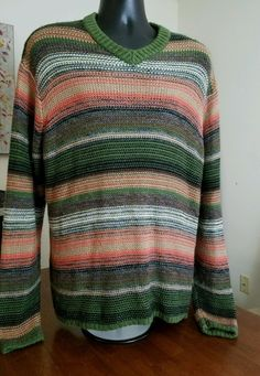 VTG EUC Norm Thompson Men's Silk Alpaca Wool Blend Sweater M Striped Multi Color #NormThompson #Crewneck
