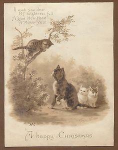 C128 Victorian Tuck Xmas Card: Kitten in Tree, Helena Maguire 1889