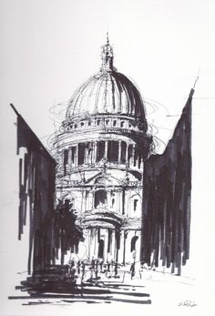 """Saatchi Art Artist Michael Harris; Drawing, """"St. Paul's Cathedral Today"""" #art"""
