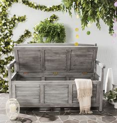Safavieh Outdoor Collection Brisbane Grey Storage Bench *** Visit the image link more details.-It is an affiliate link to Amazon.