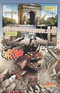 Godzilla Rulers of Earth issue 11 - pg 1 by KaijuSamurai (Matt Frank) Neo Monsters, Godzilla Comics, Comic Art, Comic Books, Fantasy Movies, Ruler, Lions, Pop Culture, Creatures
