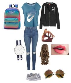 """""""Daughter of Nike"""" by cute19392 ❤ liked on Polyvore featuring NIKE, Topshop and Vans"""