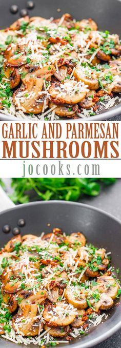 Sauteed Garlic and Parmesan Mushrooms (garlic mushrooms paleo)