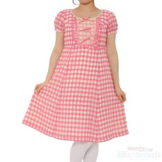 [♡ There is a commodity of Emily Temple cute ♡] Pink gingham check dress Gingham  plaid is a Old Fashion, but a cute Fashion. This is the dress there is a sleeve. http://www.wunderwelt.jp/products/detail1456.html