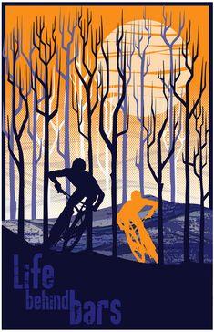 retro vintage mountain bike illustration by ArtBySassanFilsoof