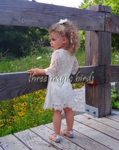Lace Flower Girl Dress-Christening Baptism Dress-Rustic Flower Girl-Long Sleeve Flower Girl Dress-Bridesmaid-Country Flower Girl-Birthday by ThreeMagicBirds on Etsy https://www.etsy.com/listing/202324034/lace-flower-girl-dress-christening