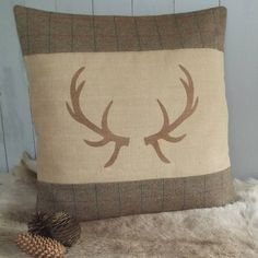antler tweed and hessian floor cushion by rustic country crafts… Hessian, Burlap, Country Cushions, Reindeer Decorations, Equestrian Decor, Knit Pillow, Country Crafts, Floor Cushions, Soft Furnishings