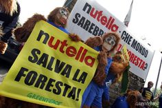 Greenpeace activists dressed as orang-utans bring an alternative breakfast to the Italian national football team, asking them to join in the call for Nutella to 'Save the Forests' of Indonesia.