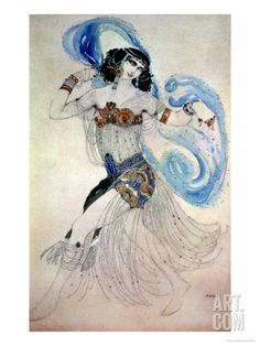 """Costume Design for Salome in """"Dance of the Seven Veils,"""" 1908 Giclee Print by Leon Bakst at Art.com"""