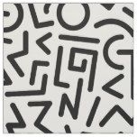 Memphis Design Pattern Black and White Fabric