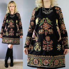 Vtg 70s Bird Heavy Embroidery India Ethnic Metallic Gold Boho Hippie Mini DRESS